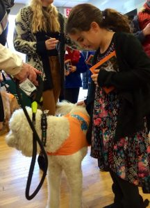 A young girl meets Roxy Reading Therapy Dog Maggie Doodles at the Be Like Bud book signing event.